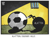 Cartoon: Blatter (small) by Kostas Koufogiorgos tagged karikatur,koufogiorgos,cartoon,illustration,fifa,blatter,fussball,gefängnis,kette,sport,verband,korruption
