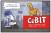 Cartoon: CeBit (small) by Kostas Koufogiorgos tagged karikatur,koufogiorgos,illustration,cartoon,cebit,hannover,messe,roboter,computer,technik,r2d2,3po,star,wars,science,fiction