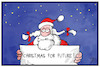 Cartoon: Christmas for Future! (small) by Kostas Koufogiorgos tagged karikatur,koufogiorgos,illustration,cartoon,weihnachten,weihnachtsmann,christmas,future,demonstration,klima,umwelt,klimaschutz,greta