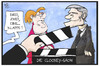 Cartoon: Clooney-Show (small) by Kostas Koufogiorgos tagged karikatur,koufogiorgos,illustration,cartoon,clooney,merkel,show,klappe,film,szene,treffen,kanzleramt,hollywood,schauspieler,star