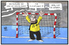 Cartoon: Das Tor ist dicht (small) by Kostas Koufogiorgos tagged karikatur,koufogiorgos,illustration,cartoon,tor,wolff,handball,em,europameister,grenze,dicht,abwehr,flüchtlinge,sport,spanien,finale,torwart,torhüter