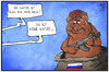 Cartoon: Der Bär ist aus dem Sack (small) by Kostas Koufogiorgos tagged karikatur,koufogiorgos,illustration,cartoon,russland,ukraine,konflikt,krieg,bär,politik