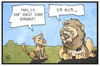 Cartoon: Der Löwe Cecil (small) by Kostas Koufogiorgos tagged karikatur,koufogiorgos,illustration,cartoon,löwe,cecil,zahnarzt,jagd,angst,wilderer,tier,tierschutz,afrika
