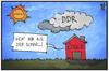 Cartoon: Die Linke und die DDR (small) by Kostas Koufogiorgos tagged karikatur,koufogiorgos,illustration,cartoon,ddr,wolke,linke,regierung,thüringen,partei,politik,sonne,hindernis