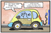 Cartoon: E-Mobilität (small) by Kostas Koufogiorgos tagged karikatur,koufogiorgos,illustration,cartoon,elektro,auto,verkehr,motor,antrieb,subvention,förderung,kauf,automobilindustrie