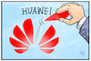 Cartoon: Huawei (small) by Kostas Koufogiorgos tagged karikatur,koufogiorgos,illustration,cartoon,huawei,handy,smartphone,trump,usa,technik