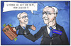 Cartoon: Juncker vs. Juncker (small) by Kostas Koufogiorgos tagged karikatur,koufogiorgos,illustration,cartoon,juncker,handpuppe,eu,kommission,luxemburg,steuerparadies,schwarzgeld,ermittlung,wirtschaft