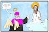 Cartoon: Kardinal Meisner (small) by Kostas Koufogiorgos tagged karikatur,koufogiorgos,illustration,cartoon,meisner,kardinal,jesus,christus,kirche,religion,katholisch,konservativ,ehe,unehelich,maria,josef,wolke,himmel,paradies,tod,engel