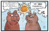 Cartoon: Klimakonferenz (small) by Kostas Koufogiorgos tagged karikatur,koufogiorgos,illustration,cartoon,klima,konferenz,eisbär,braunbär,wetter,erderwärmung,co2,hitze,umwelt
