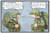 Cartoon: Mali-Einsatz (small) by Kostas Koufogiorgos tagged karikaturen,koufogiorgos,illustration,cartoon,soldat,bundeswehr,mandat,falschmeldung,mali,lageso,flüchtling,beruf,fake,armee,militär