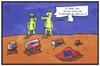 Cartoon: Müll auf dem Mars (small) by Kostas Koufogiorgos tagged karikatur,koufogiorgos,illustration,cartoon,exomars,esa,schiaparelli,mars,marsmännchen,raumfahrt,müll,erde,erdling,mission,landeroboter
