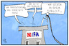 Cartoon: Neues von der IFA (small) by Kostas Koufogiorgos tagged karikatur,koufogiorgos,illustration,cartoon,ifa,funkausstellung,funkloch,netz,internet,daten,geschwindigkeit,smart,home,technik,digitalisierung