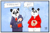 Cartoon: Panda-Politik (small) by Kostas Koufogiorgos tagged karikatur,koufogiorgos,illustration,cartoon,xi,merkel,panda,cro,maske,zoo,berlin,schätzchen,träumchen,bilateral,china,deutschland,politik,business,rap,musik