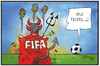 Cartoon: Pfui  FIFA (small) by Kostas Koufogiorgos tagged karikatur,koufogiorgos,illustration,cartoon,fifa,skandal,teufel,pfui,fussball,verband,dachverband,hölle,korruption,sport