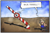 Cartoon: PKW-Maut (small) by Kostas Koufogiorgos tagged karikatur,koufogiorgos,illustration,cartoon,pkw,maut,timber,baum,baumfäller,eu,europa,schlagbaum