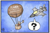 Cartoon: Scharia-Luftwaffe Wuppertal (small) by Kostas Koufogiorgos tagged karikatur,koufogiorgos,illustration,cartoon,is,islamischer,staat,wuppertal,scharia,luftwaffe,krieg,militär,flugzeug,ballon,steinschleuder,terrorismus,angriff,politik