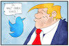 Cartoon: Trump und Twitter (small) by Kostas Koufogiorgos tagged karikatur,koufogiorgos,illustration,cartoon,twitter,trump,vogel,social,media,fake,news,lüge,usa,präsident,manipulation