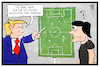 Cartoon: Trumps Meinung (small) by Kostas Koufogiorgos tagged karikatur,koufogiorgos,illustration,cartoon,trump,loew,fussball,strategie,taktik,wm,weltmeisterschaft,sport,politik,asylpolitik,usa,präsident,fifa,trainer,coach