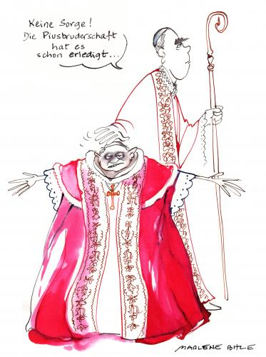 Cartoon: Ratzinger und Willemsem (medium) by Marlene Pohle tagged polemik,bei,der,piusbruderschaft