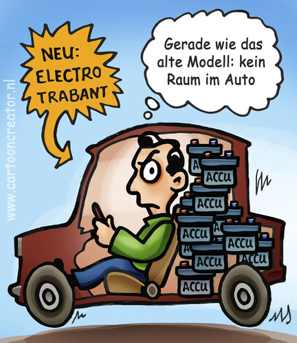 Cartoon: Electro Trabant (medium) by illustrator tagged trabant,electric,electro,auto,wagen,accu,battery,batterie,inside,raum,neu,modell,alte