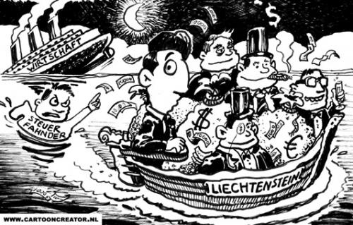 Cartoon: Liechtenstein (medium) by illustrator tagged wirtschaft,steuer,steuerfahnder,tax,evasion,liechtenstein,germany,kapitalist,rich,people,boat,sinking,ship,liechtenstein,geld,kapitalismus,steuerfahndung,steuer,abgaben,korruption,wirtschaft,fürstentum,steuerhinterziehung,verbrechen,steueraffaire,untergang,seenot,boot,schiff,flucht