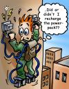 Cartoon: Powerpack climber (small) by illustrator tagged wall,climbing,power,pack,attach,stuck,failure,forgot,memory,wondering,sky,satire,cartoon,illustration,welleman,gag,comic,electric