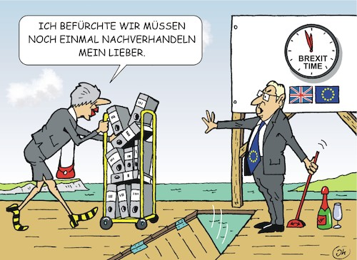 Cartoon: Game over? (medium) by JotKa tagged brexitverhandlungen,brexit,eu,gb,uk,england,brüssel,london,parlament,may,junker,nachverhandlungen,nordirland,brexitverhandlungen,brexit,eu,gb,uk,england,brüssel,london,parlament,may,junker,nachverhandlungen,nordirland