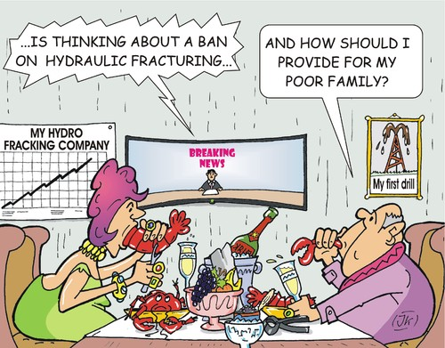 Cartoon: Hydraulic fracturing (medium) by JotKa tagged hydraulic,fracturing,hydrofracking,fracking,environmental,damage,groundwater,drinking,water,pollution,energy,hunger,petroleum,gas,fuel,wealth,millionaire,family,champagne,lobster,company,policy,protection,protests,tv,news