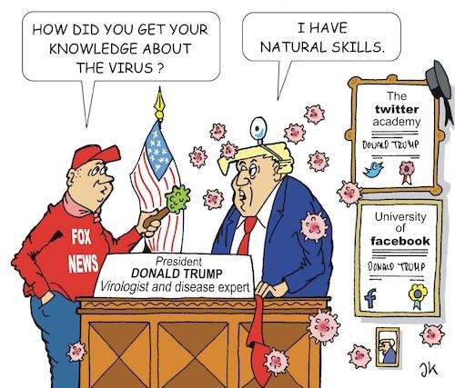 Trump and the virus von JotKa | Politik Cartoon | TOONPOOL