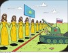 Cartoon: Conchitas ante portas (small) by JotKa tagged conchita,wurst,sausage,european,song,contest,2014,stimmen,votes,europe,europa,russland,russia,eu,putin,panzer,tank,border,grenze,aussengrenze,ukraine,nato