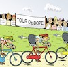 Cartoon: Tour de Dope (small) by JotKa tagged sport,radsport,freizeit,profisport,freizeitsport,doping,sieger,verlierer,kontrolle,tour,de,france,skandale