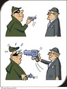 Cartoon: Überfall - Raid (small) by JotKa tagged räuber,überfall,raub,angriff,waffe,pistolen,groß,klein,bedrohung,überraschung,robbers,robbery,assault,weapon,guns,large,small,surprise,threat
