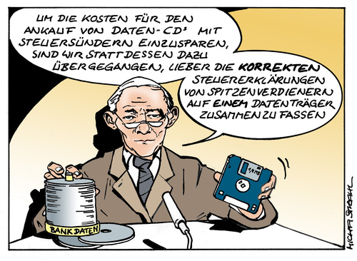 Cartoon: Steuer CDs (medium) by Micha Strahl tagged micha,strahl,steuercd,steuerflucht,finanzminister,schäuble,datenankauf,steuerflucht,finanzminister,schäuble,datenankauf,daten,datenhandel,steuern