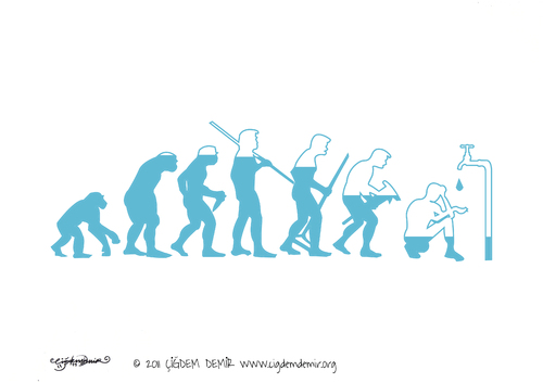 Cartoon: We depleting water (medium) by CIGDEM DEMIR tagged water,human,evolution
