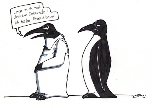 Cartoon: Dresscode (medium) by bertgronewold tagged pinguin,kleidung,dresscode