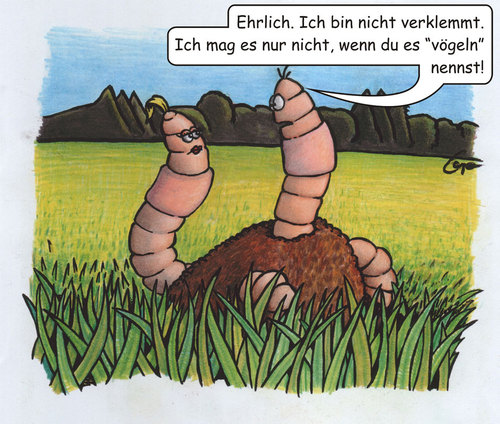 Cartoon: Wurmliebe (medium) by bertgronewold tagged wurm,vögeln,verklemmt