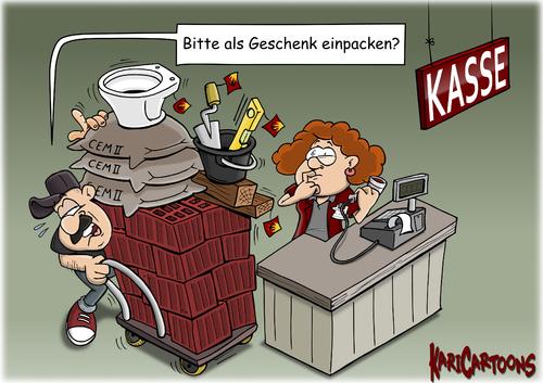 Cartoon: geschenk einpacken (medium) by karicartoons tagged einpacken