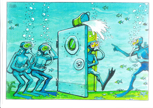 Cartoon: Diving Joke (medium) by Dluho tagged joke,illustration,illustrationen,wasster,tauchen,taucher