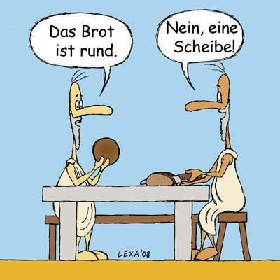 Cartoon: Philosophische Brotzeit (medium) by lexaart tagged philosophie,brot,erde,scheibe,kugel