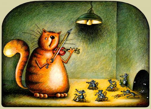 Cartoon: musikfan (medium) by kurtu tagged no,,katze,tiere,maus,mäuse,musik,musiker,geige,instrument,zuschauer,zuhörer,freundschaft,feindschaft,locken,fans,kultur,genuss,waffenstillstand