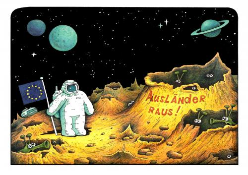 Cartoon: ufo (medium) by kurtu tagged no,,eu,ausländer,rassimus,intoleranz,integration,hass,gewalt,angst,weltraum,weltall,planet,mond,astronaut,mondlandung,krater,alien,außerirdischer