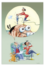 Cartoon: Nachbarn (small) by kurtu tagged nachbarn