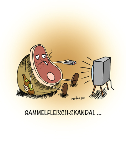 Cartoon: Gammelfleischskandal... (medium) by martinchen tagged gammelfleisch,fleisch,skandal