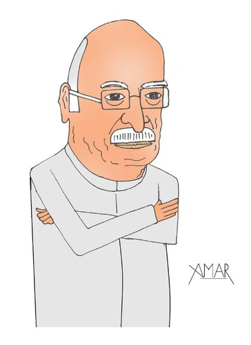 Cartoon: Lal Krishna Advani (medium) by Amar cartoonist tagged amar,caricature