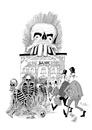 Cartoon: Tributo a Jose Guadalupe Posada (small) by paraistvan tagged jose guadalupe posada bank skeleton robbering
