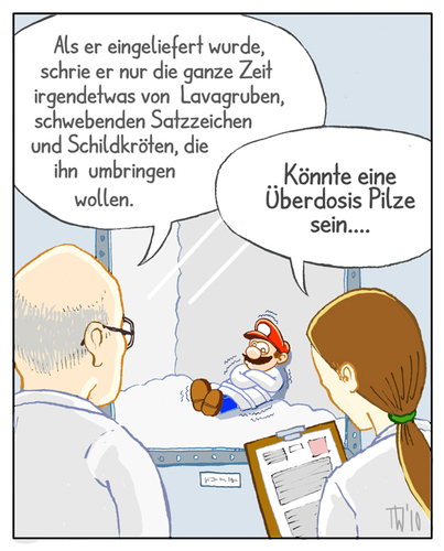 Cartoon: ... (medium) by Tobias Wieland tagged super,mario,pilz,psychatrie,mushroom,arzt