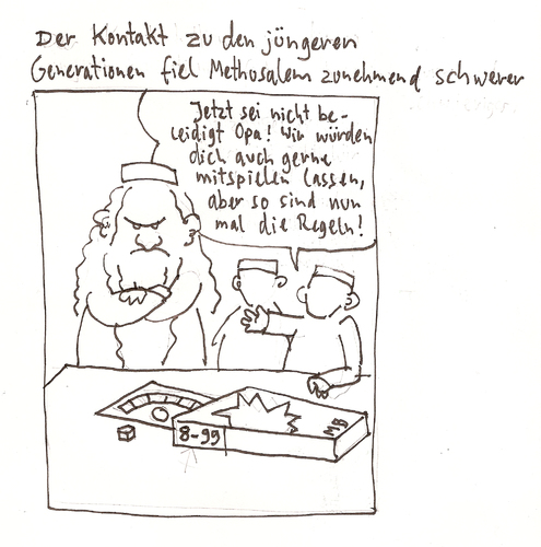 Cartoon: Abgelehnter Cartoon - Thema Neid (medium) by Tobias Wieland tagged tobias,wieland,neid,methusalem,bibel
