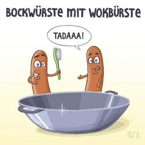 Cartoon: Neues aus der Wortspielfabrik (medium) by Tobias Wieland tagged wurst,bockwurst,wok,bürste,wort,wortspiel,schüttelreim,wurst,bockwurst,wok,bürste,wort,wortspiel,schüttelreim,fleisch