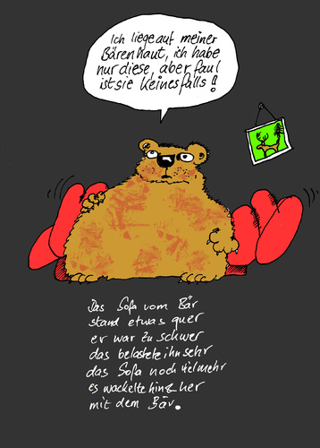 Cartoon: Faule Bärenhaut (medium) by Marbez tagged bär,bärenhaut,sofa
