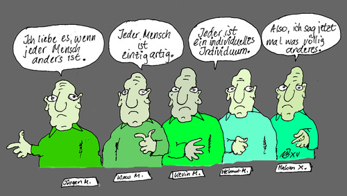 Cartoon: Individuelles Individuum (medium) by Marbez tagged mensch,individuell,individuum,rebell